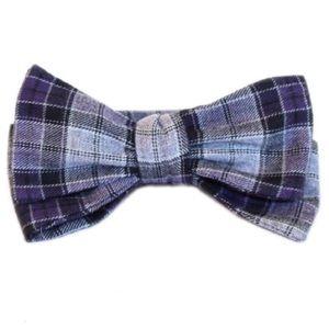 ZB Savoy Black Grey Purple Striped Bow Tie